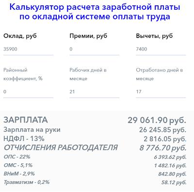 Расчет зарплаты после отпуска онлайн калькулятор