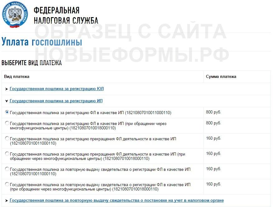 Пакет документов для оформления ип